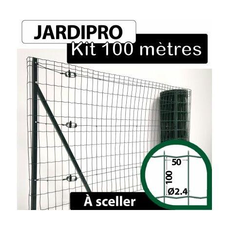 Kit Grillage Soudé Vert 100M - JARDIPRO - Maille 100x50mm - Triple lisière - 1,80 mètre