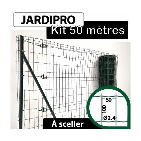 Kit Grillage Soudé Vert 50M - JARDIPRO - Maille 100x50mm - Triple lisière - 1,20 mètre