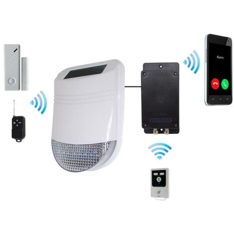 Kit GSM sans-fil autonome de détection de vibration / ouverture et sirène solaire 105dB IP66 (gamme HY/BT)