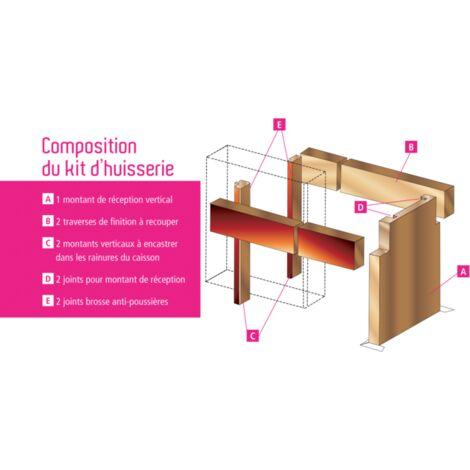 Kit huisserie pour vantail double MDF FIBROTUBI - Double porte jusqu'à 2400 mm de large - 61462402