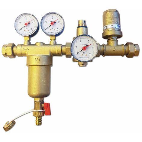 Kit hydraulique -EUROKIT - en laiton composé de filtre autonettoyant, réducteur de pression, anticolption de bélier