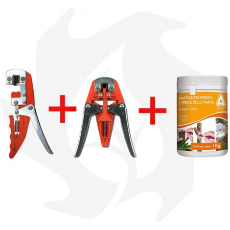 Kit Innestatrice Manuale 4T + Innestatrice Complementare + Mastice Per Innesti 0,5 Kg