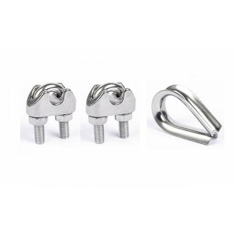 Kit inox 2 Serres câbles étriers et 1 cosse coeur câble de 3mm