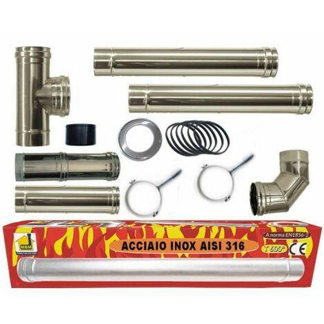 Kit INOX tuyaux de fumée poêle à granulés dn 80 tuyau en acier 316 réglable 600 CE Made in Italy UNI 1856-2