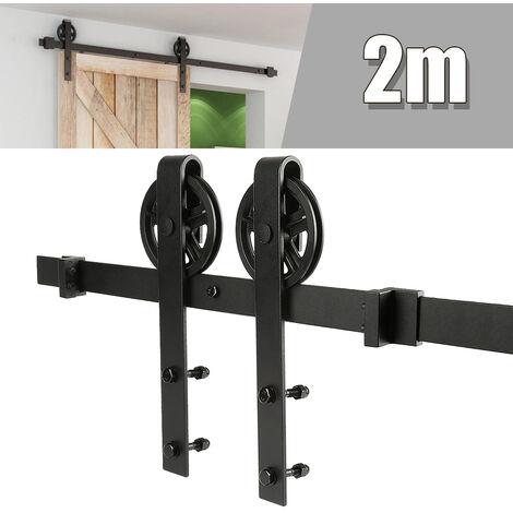 Kit Instalación Montaje Puerta Corredera Kit para Puerta Deslizante Puerta Corrediza Interior Riel Acero 200cm(sin puerta)