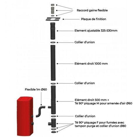 Kit intérieur pour raccordement vertical avant tubage d'un Poêle à granulés étanches 100/150 - Laqué noir mat anti-rayure