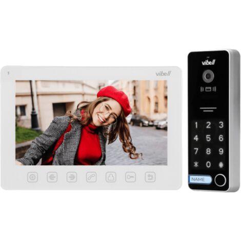 Kit Interphone 7 pouces avec écran, lecteur de badge et digicode version blanc - Vibell