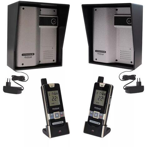 Kit interphone UltraCOM2 ARGENTÉ double entrée 600 mètres individuel avec visières noires + transformateurs + 2 combinés