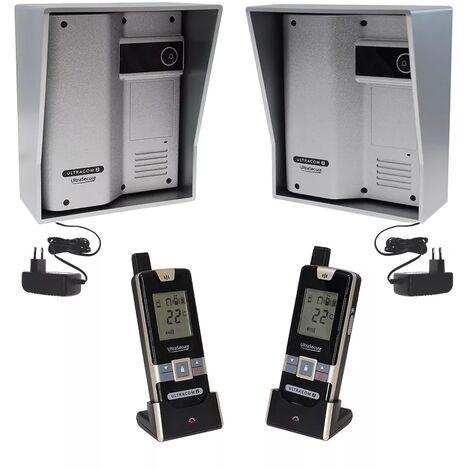 Kit interphone UltraCOM2 ARGENTÉ double entrée 600 mètres individuel visières argentées + transformateurs + 2 combinés
