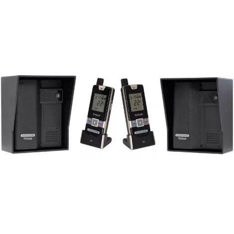 Kit interphone UltraCOM2 NOIR double entrée 600 mètres autonome individuel avec visières noires + 2 combinés
