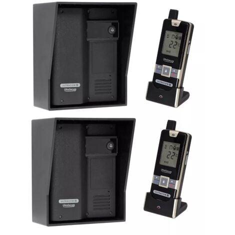 Kit interphone UltraCOM2 NOIR double entrée 600 mètres individuel avec visières noires + transformateurs + 2 combinés