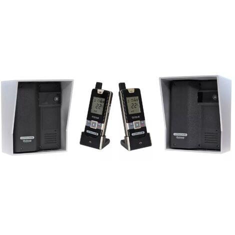 Kit interphone UltraCOM2 NOIR double entrée 600 mètres individuel visières argentées + transformateurs + 2 combinés