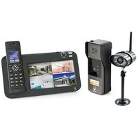 Kit Interphone vidéo DECT + vidéosurveillance, 1 platine + 1 caméra, 1 platine + 1 caméra