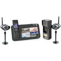 Kit Interphone vidéo DECT + vidéosurveillance, 1 platine + 2 caméras, 1 platine + 2 caméras