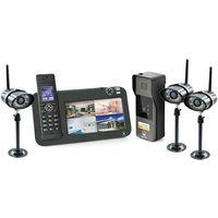 Kit Interphone vidéo DECT + vidéosurveillance, 1 platine + 3 caméras, 1 platine + 3 caméras