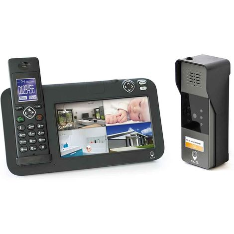 Kit interphone vidéo évolutif 200M DECT, 1 platine de rue, 1 platine de rue