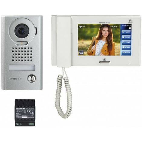 Kit interphone vidéo platine en saillie JPS4AEDV avec moniteur écran 7 et tactile - Blanc