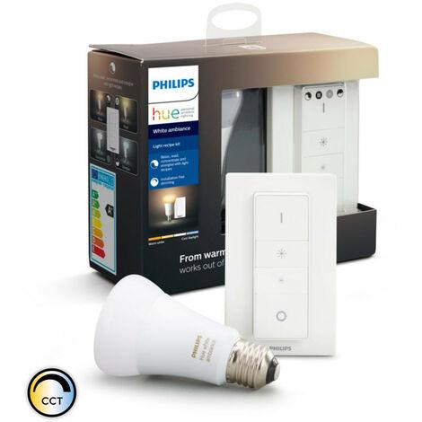 Kit Interruptor + Bombilla LED E27 Casquillo Gordo CCT Hue White Ambiance 8,5W Seleccionable (Cálido-Neutro-Frío)