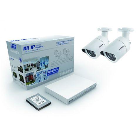 Kit IP 2 caméras HD + NVR + DD 1 To video surveillance GIGAMEDIA KITIP2C