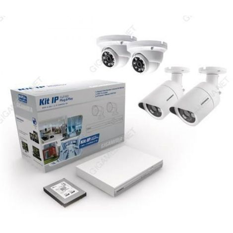 Kit IP 4 caméras HD (2 dômes + 2 bullets) + NVR + DD 1 To vidéosurveillance GIGAMEDIA KITIP4C