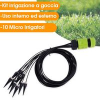 Kit Irrigazione a Goccia Con 10 Micro Irrigatori per Interni Esterni Piante Orto
