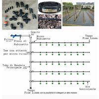 Kit irrigazione autocompensante giardino goccia orto impianto completo per 50mq