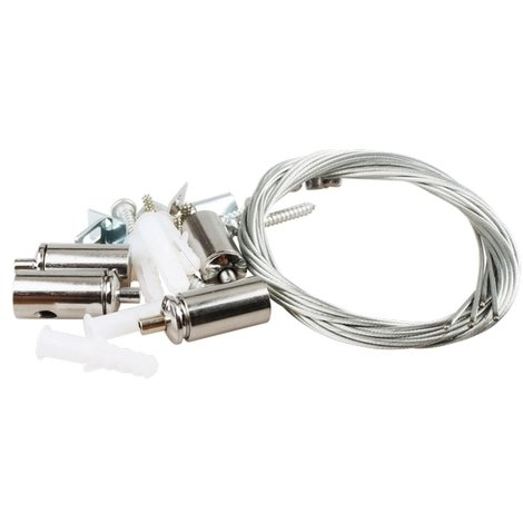 Kit istallazione a sospensione o a soffitto di pannelli Led compreso di 4 cavi in acciaio altezza regolabile
