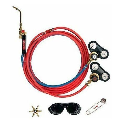 Kit Koro GUILBERT EXPRESS pour poste à souder Oxyacethylene - Tuyau 5 ml + détendeur + lunettes + étoile 6 becs - 2905
