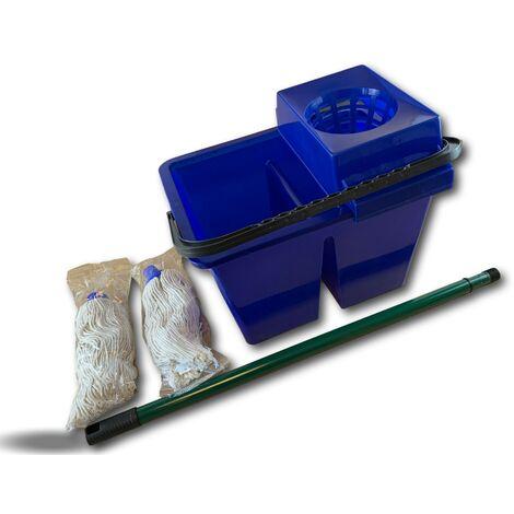 Kit lave sol seau 2 compartiments   2 serpillères - Lot de 10 - Kit lave-sol