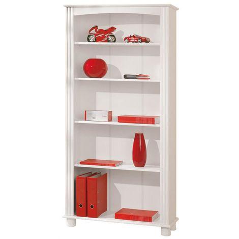 Kit Libreria in legno massello bianca con 5 ripiani 87x30xh180cm ...
