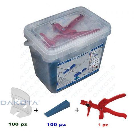 Kit Livellatori per piastrelle, distanziatori 1,5mm 100 tiranti+100 cunei+pinza