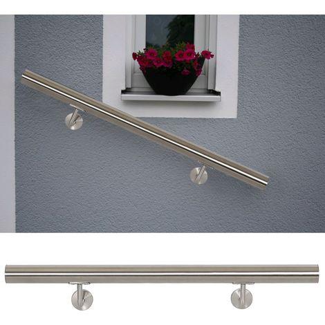 Kit Main Courante Rambarde Support Mural 150 cm Dispositif de Fixation Escaliers Acier Affiné V2A