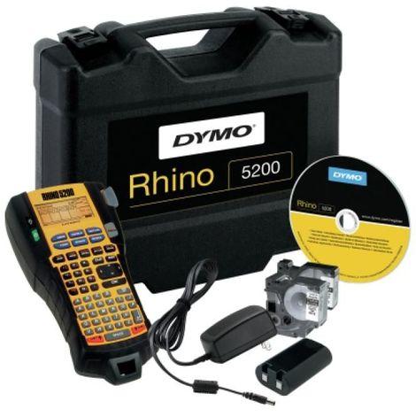 Kit mallette Rhino 5200, 2 rubans N/B 12mm et 19mm, 1 batterie rechargeable + adaptateur