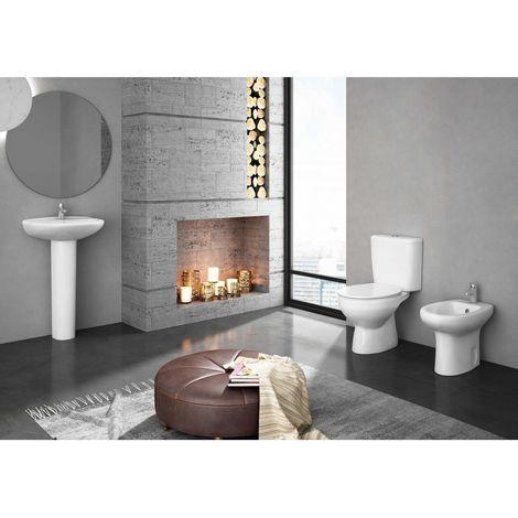 Kit MANDULIS completo con desagüe vertical, inodoro completo con cisterna, tapa amortiguada, asiento de duroplast, bide y lavabo con pedestal a juego económicos y de calidad.