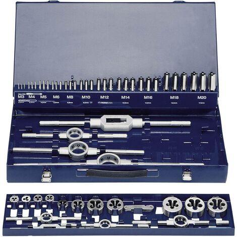 KIT maschi e filiere 54 parti HSS Exact 10723 metrica M3, M4, M5, M6, M8, M10, M12, M14, M16, M18, M20
