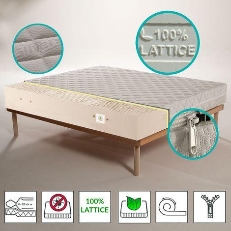 Kit Materasso 100% lattice a 7 zone differenziate con tessuto Silver alto 20 cm + Rete a Doghe - MARS