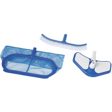 Kit matériel de nettoyage pour piscine Deluxe - 3 Accessoires - Bleu