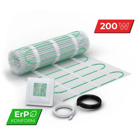 Kit Matt Plancher chauffant rayonnant sous carrelage 200 W/m² Set Complet avec Thermostat Digital