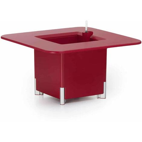 KIT Mediterraneo 45CR: Jardinière modulaire carrée rouge 45h pieds aluminium argenté + table carrée rouge - 49991011544987