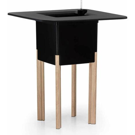 KIT Mediterraneo 95CN: Jardinera modular cuadrada negra 95 h patas alumnio color madera + mesa cuadrada negra - 49991011545076