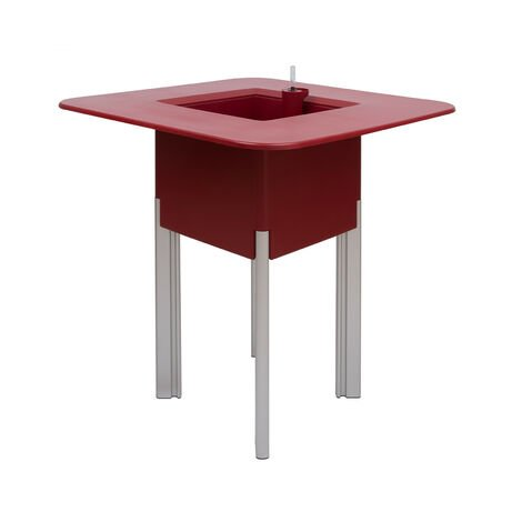 KIT Mediterraneo 95CR: Jardinera modular cuadrada roja 95 h patas alumnio plateadas + mesa cuadrada roja - 49991011545069