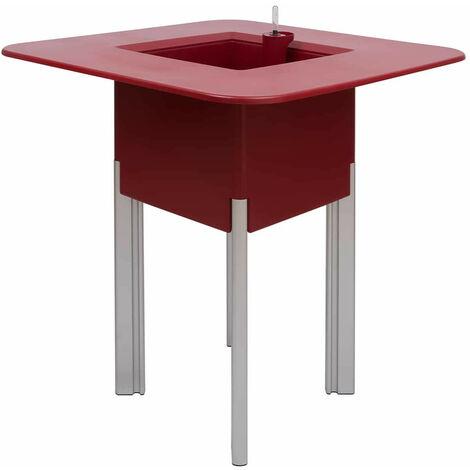 KIT Mediterraneo 95CR: Jardinière modulaire carré rouge 95 h pieds aluminium argent + table carrée rouge - 49991011545069