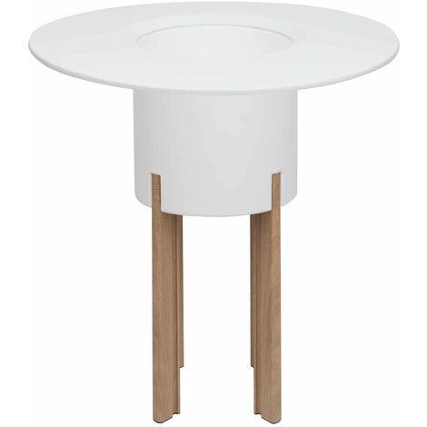 KIT Mediterraneo 95RB: Jardinera modular redonda blanca 95h patas aluminio color madera + mesa redonda blanca - 49991011544932