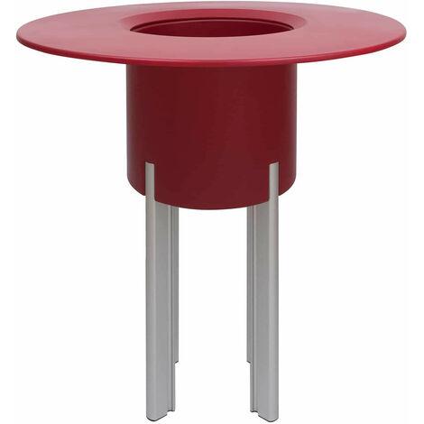 KIT Mediterraneo 95RR: Jardinera modular redonda roja 95h patas aluminio color plata + mesa redonda roja - 49991011544949