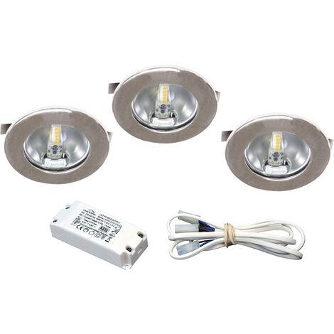 KIT MEUBLE LED - Encastres chromes avec LED G4 1,8W 3000K 150lm, driver inclus