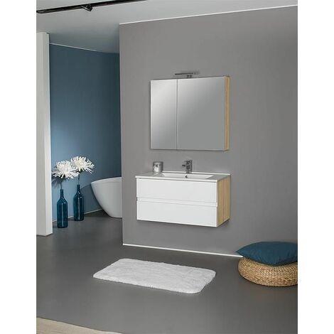 Kit meuble salle de bain EGAN série MAF, blanc mat / Asteiche