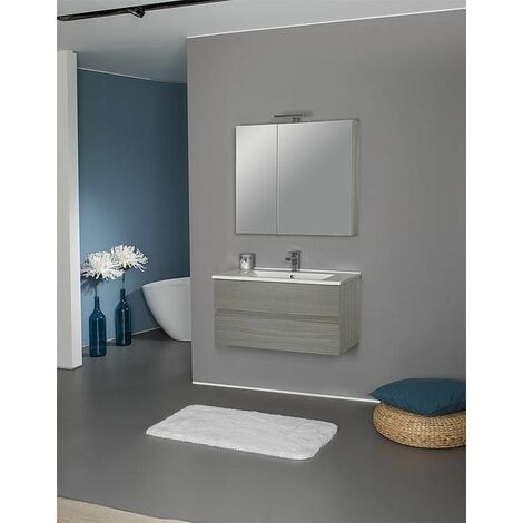 Kit meuble salle de bain EGAN série MAF, Ulme gris