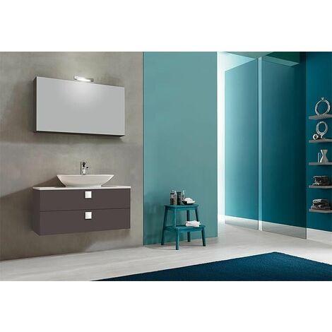 Kit meuble salle de bain ELION série MBL, anthracite brillant 2 tiroirs