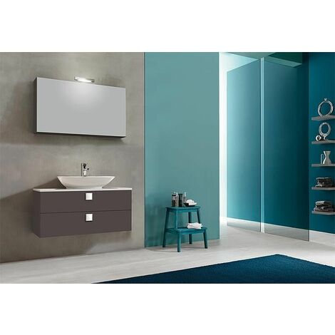 Kit meuble salle de bain ELION série MBL, anthracite mat, 2 tiroirs