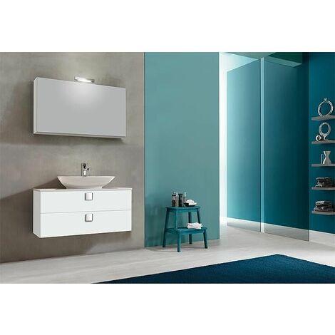 Kit meuble salle de bain ELION série MBL, blanc brillant 2 tiroirs
